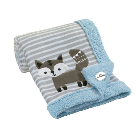 Lambs & Ivy Stay Wild Blue/Gray/White Fox Minky and Sherpa Baby Blanket (Ivy Star)