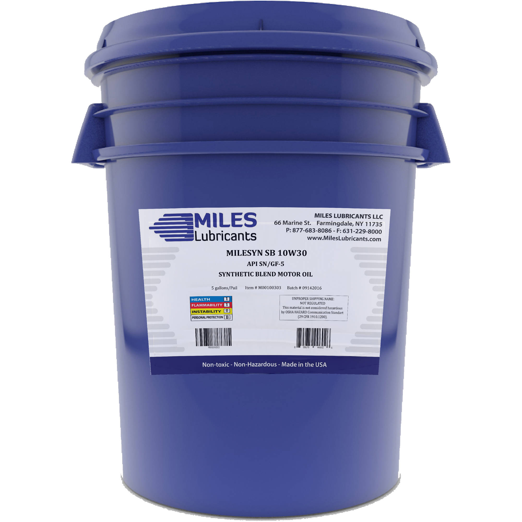 Milesyn SB 10W30 API GF-5/SN, Synthetic Blend Motor Oil, 5-Gallon Pail