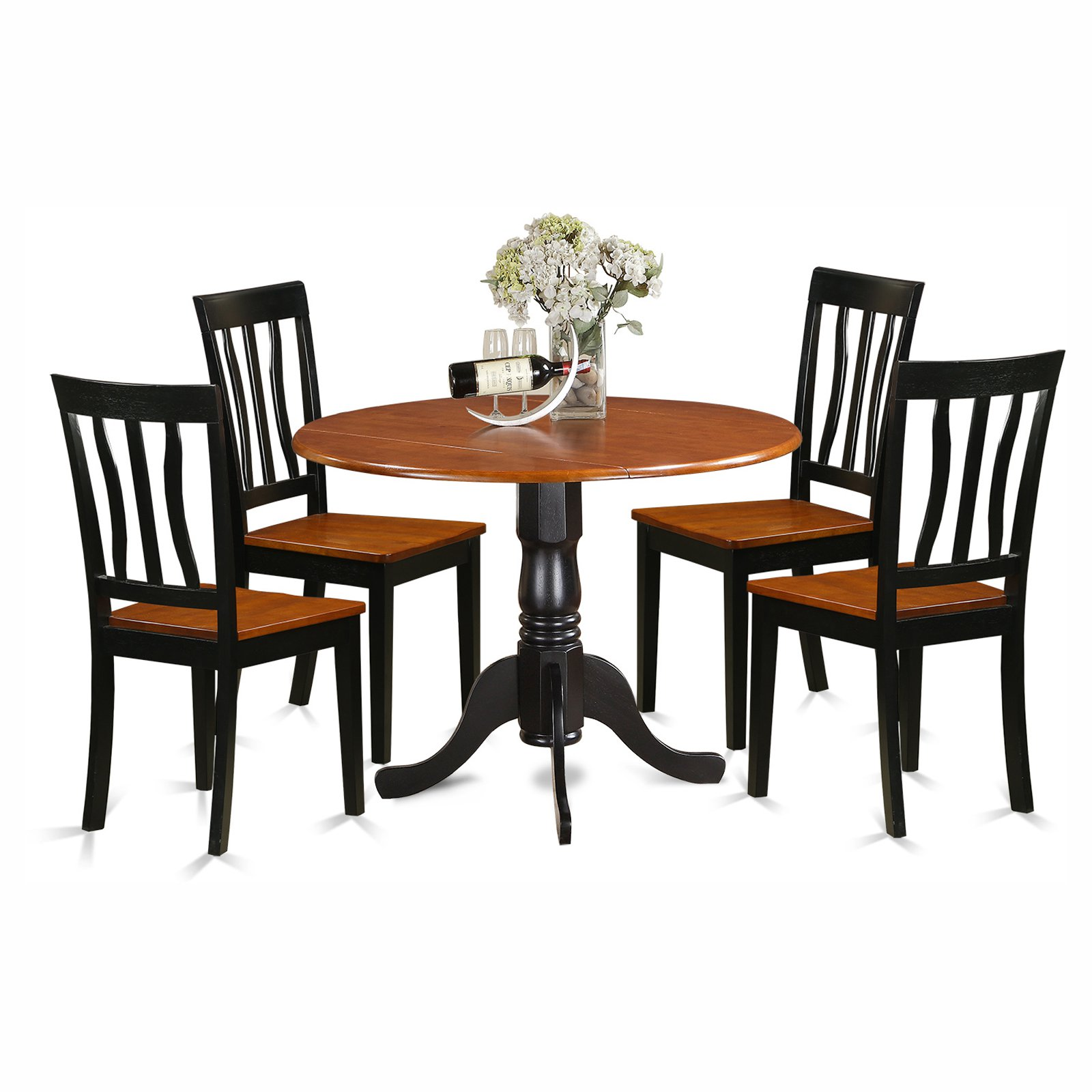 East West Furniture Dublin 5 Piece Drop Leaf Dining Table Set with Wooden Antique Chairs