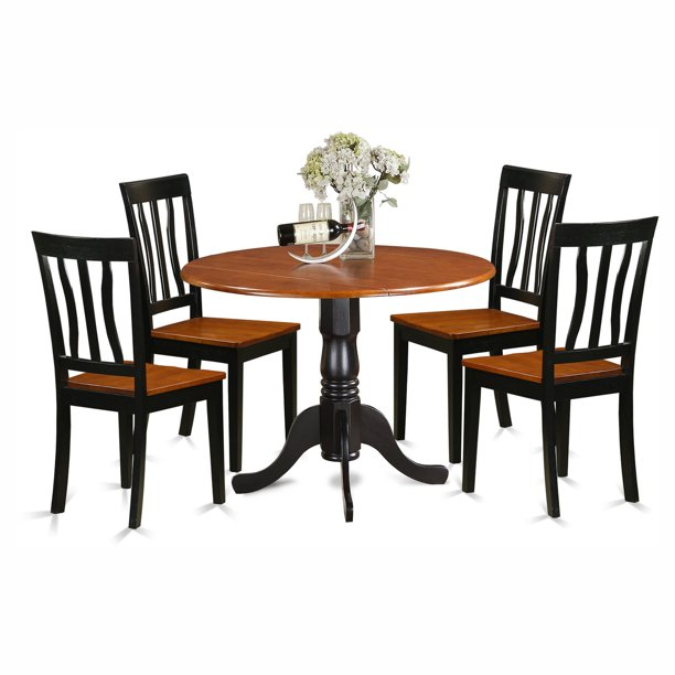 Silver Dining Table And Chairs, East West Furniture Dublin 5 Piece Drop Leaf Dining Table Set With Wooden Antique Chairs Walmart Com Walmart Com