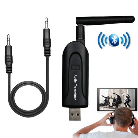 TSV Bluetooth Audio Transmitter for TV, Universal USB Wireless Audio Transmitter Dongle Connected 3.5mm AUX Output Portable Stereo Audio Devices ()