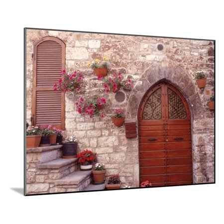 Exterior of House with Flowers, Italy Wood Mounted Print Wall Art By Robin Allen