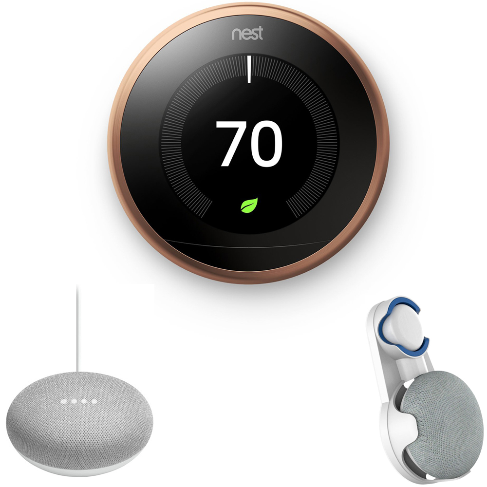 Nest Learning Thermostat 3rd Gen Copperl (T3021US) with Google Home Mini Home Smart Speaker with Google Assistant Chalk & Deco Gear Google Home Mini Outlet Wall Mount white
