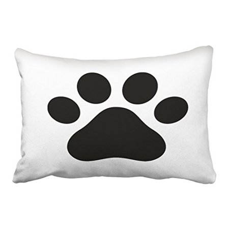 Black And White Dog Zipper (WinHome Vintage Popular Black And White Dog Paw Print Square Polyester 20 x 30 Inch Rectangle Throw Pillow Covers With Hidden Zipper Home Sofa Cushion Decorative Pillowcases)