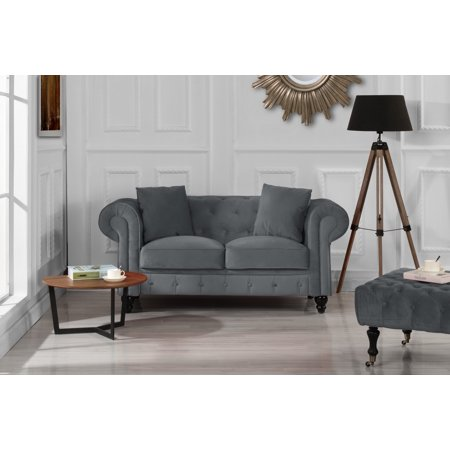 Classic Modern Scroll Arm Velvet Chesterfield Love Seat Sofa (Grey)