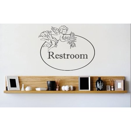 Vinyl Wall Decal Sticker   Restroom Sign Image Quote   Bedroom Bathroom Living Room Picture Art Peel   Stick Mural Size  20 Inches X 20 Inches   22 Colors Available