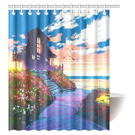 Mypop Landscape Painting Shower Curtain Beach House And Colorful Flowers Fabric Bathroom Set