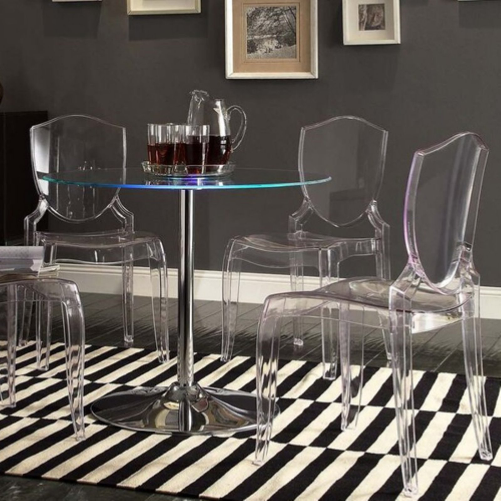 Chelsea Lane Tron LED Round Dining Table by Top-Line Furniture Warehouse