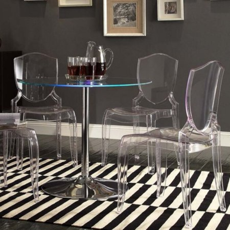 Oval Clear Glass Dining Table (Chelsea Lane Tron LED Round Dining Table )