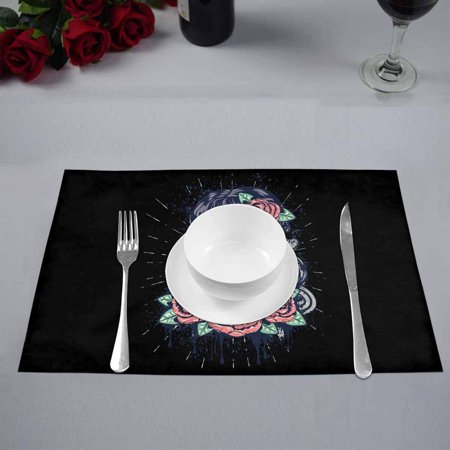 YUSDECOR Vintage Sugar Skull Girl with Roses Placemats Table Mats for Dining Room Kitchen Table Decoration 12x18 inch,Set of 4 - image 3 of 4