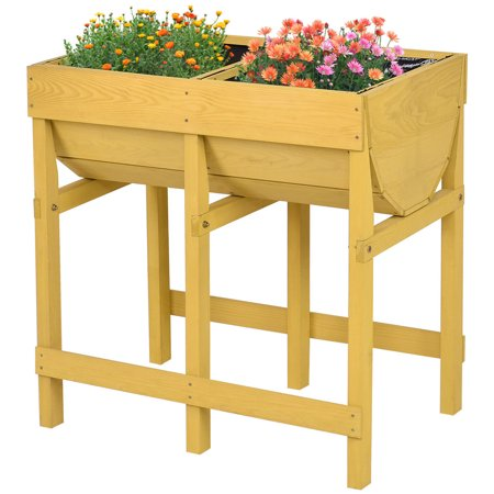 Costway Raised Wooden V Planter Elevated Vegetable Flower Bed Free Standing Planting with (Make Wooden Planter Box)