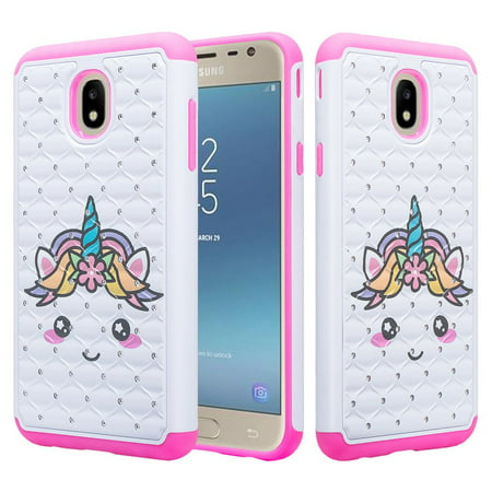 Samsung Galaxy J7 Star Case,J7 Crown Case,J7v 2nd Gen,J7 2018,J7 Refine Case Glitter Diamond Sparkle Phone Case Cover - Pink Unicorn