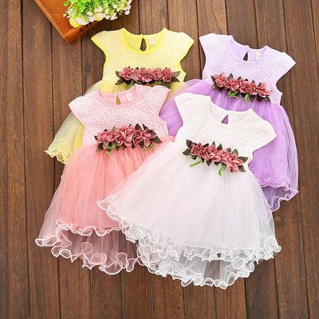 95e67e735 Toddler Infant Kids Baby Girls Summer Floral Tulle Tutu Dress ...