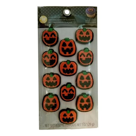 Pumpkin Jack O'Lantern Faces Icing Decorations 12 Ct Wilton Halloween