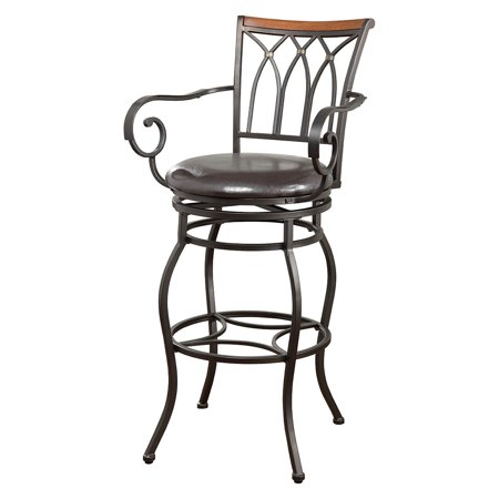 Coaster Company Swivel Bronze Metal Bar Stool, Brown Leatherette