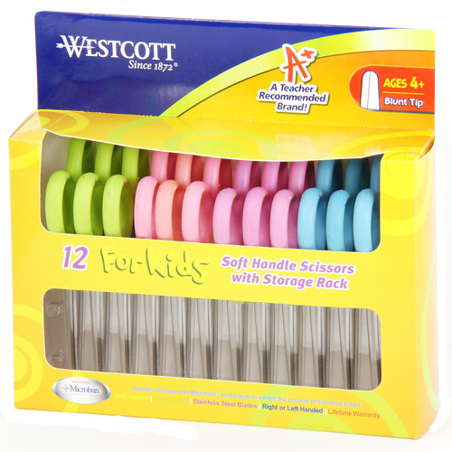Westcott Kids Soft Handle Scissors with Microban Protection, 12 Pack