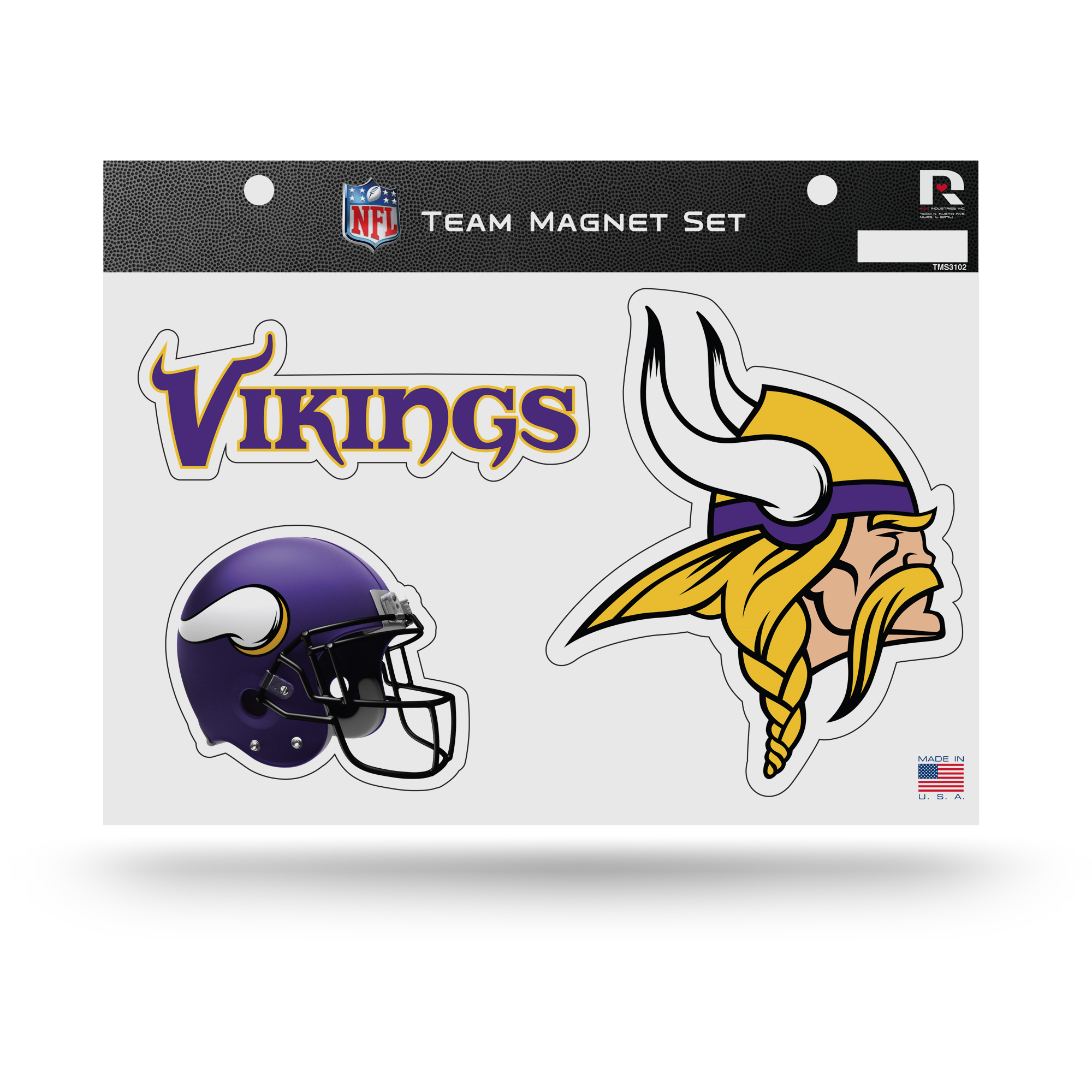 Minnesota Vikings Official NFL 8 inch x 11 inch  3 Piece Team Car Magnet Sheet by Rico Industries