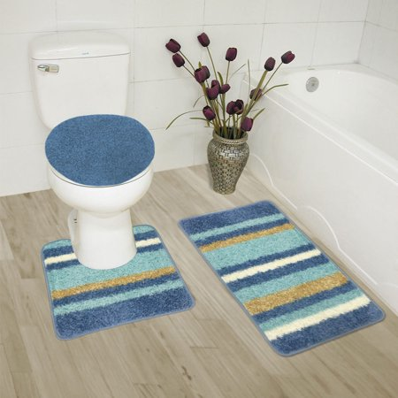 Abby 3 Piece Bathroom Rug Set Bath Rug Contour Rug Lid Cover Light Blue