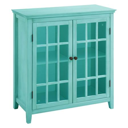 Linon Home Decor Largo Antique Double Door Cabinet, Multiple Colors (Turquoise China Cabinet)