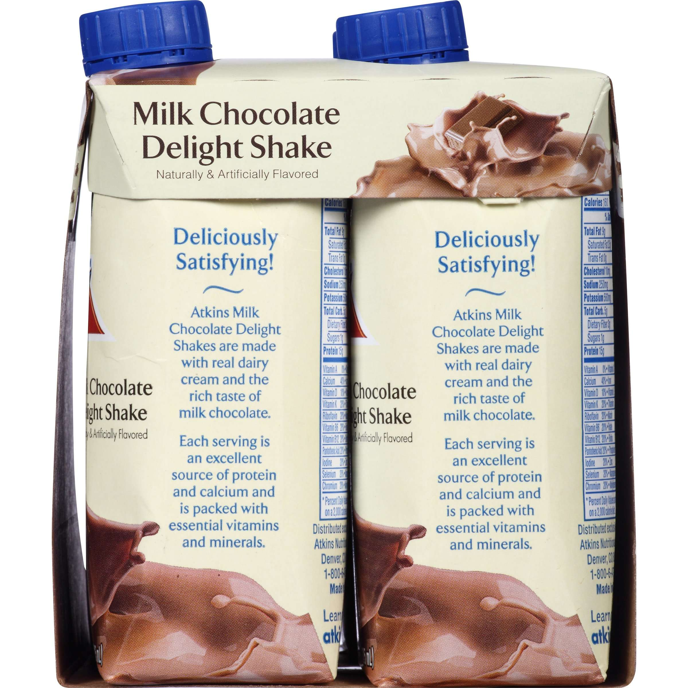 Atkins Milk Chocolate Delight Shake, 11Fl oz, 4-pack (Ready To ...