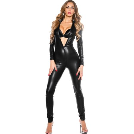 Jumpsuit Teddy (Sexy Women Leather Bodysuit Long Sleeve Zipper Skinny Pants Bodycon Jumpsuit Teddy Lingerie Catsuit Black )