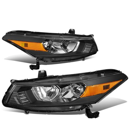 For 2008 to 2012 Honda Accord 2 -Dr Coupe Pair Black Housing Amber Corner Headlight / Headlamps 09 10 Left+Right