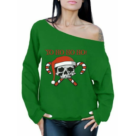 Gay Christmas Sweaters (Awkward Styles Yo Ho Ho Ho Christmas Sweatshirt Off the Shoulder Sweatshirt Sweater Skull and Crossbones Candy Canes Santa Ugly Christmas Sweater Women's Slouchy Oversized Sweatshirt Off Shoulder)