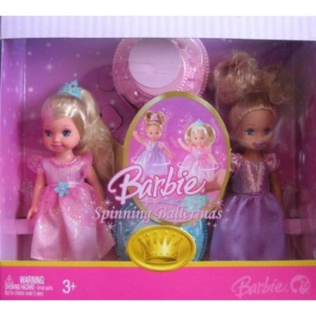 Barbie Spinning Ballerinas 4 Inch Tall Doll - Caucasian Kelly in Pink Outfit and Purple Outfit](Barbie Ballerina)