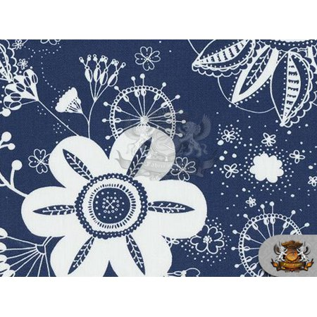 - Printed Indoor/Outdoor Waterproof FLOWER POWER ROYAL Fabric / 54