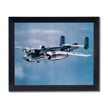 WWII Bomber Mitchell Jet Airplane Wall Picture Black Framed Art -