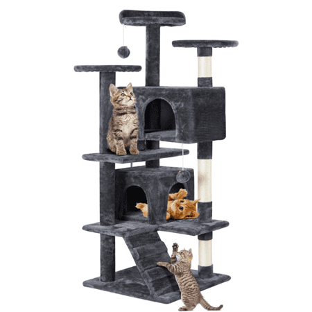 SmileMart 51-in Cat Tree 2 Condo Scratching Post Tower, Gray
