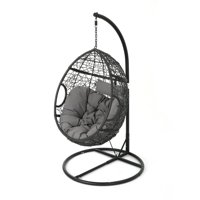 Kyle Outdoor Wicker Hanging Basket Chair with Weather Resistant Cushions and Iron Base, Black and Grey