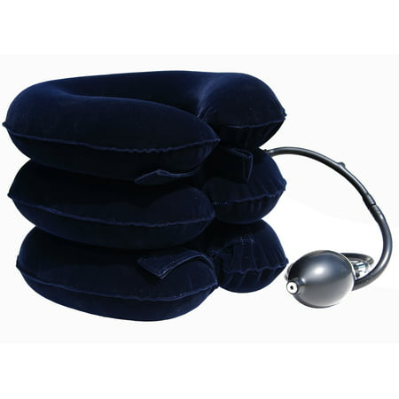 Traction Neck Pillow (Cervical Traction Pillow Stretcher Device for Posture and Neck Pain by AcuTech - for Chronic Neck, Head, Shoulder Pain Relief - Therapeutic Inflatable Portable)
