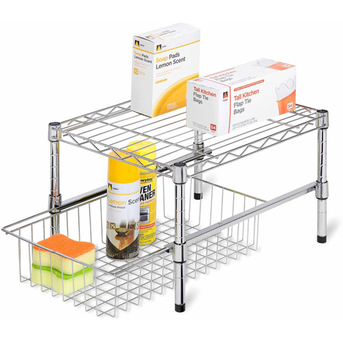 Honey-Can-Do Shelf with Under Cabinet Organizer, Adjustable