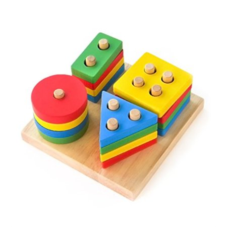 Boxiki kids Wooden Stacking Toys and Shape Sorting Board | Geometric Shape Stacker | Eco-Friendly and Non-Toxic Wooden Toy | Ear