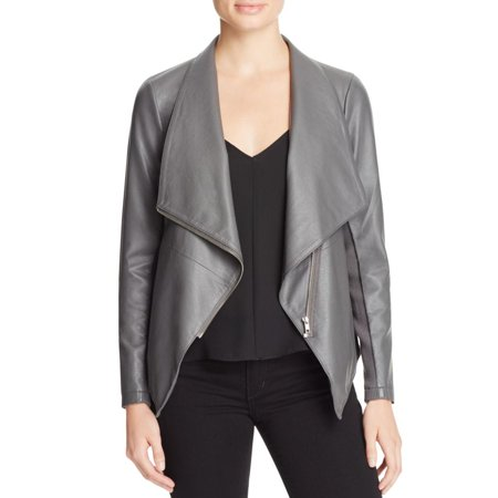 BB Dakota Womens Faux Leather Asymmetrical Zip Jacket