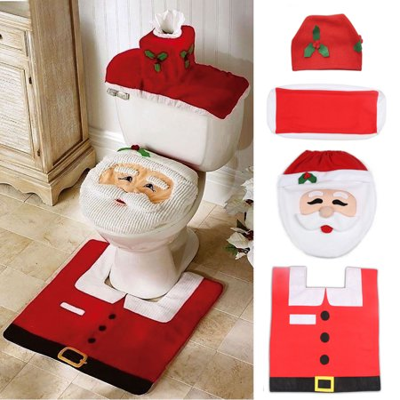 Christmas Santa Toilet Seat Cover, Tank Cover, Toilet Paper Box Cover and Rug Set, Christmas Decoration Bathroom Decor Set for $<!---->