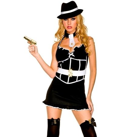 Music Legs Sexy Gangster Girl Outfit Adult Halloween Costume