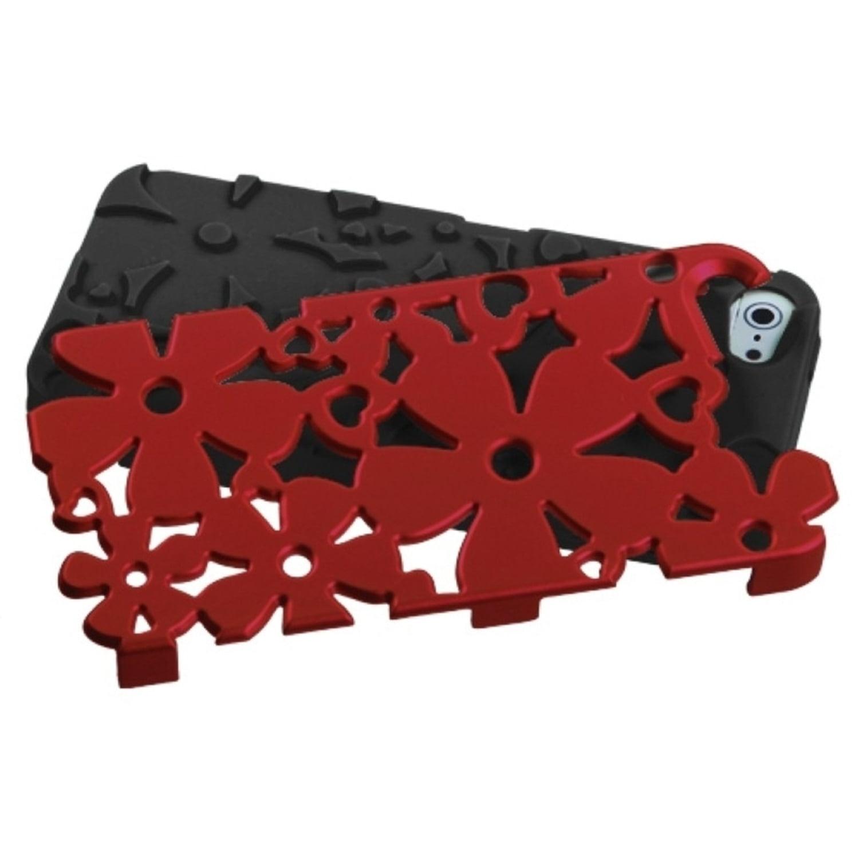Insten Titanium Red/Black Flowerpower Hybrid Rugged Hard Shockproof Phone Case for Apple iPhone SE / 5S / 5