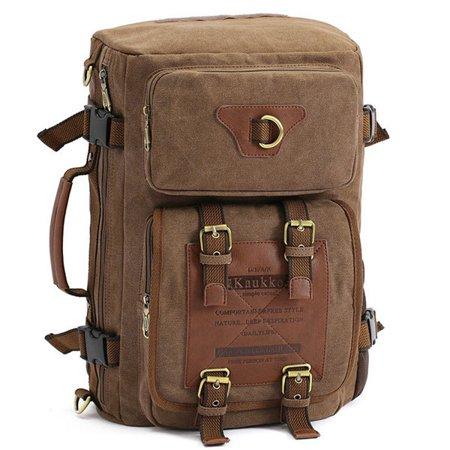 Meigar Men Retro Canvas Shoulder Bag Travel Tactical Backpack - image 2 de 9