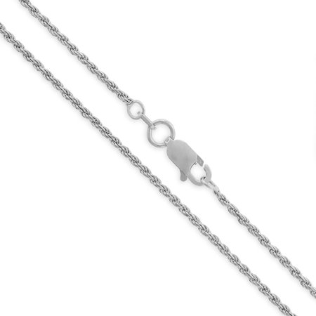 Sterling Silver Italian Diamond Rope - Sterling Silver Italian 1.5mm Rope Diamond-Cut Link Solid 925 Rhodium Twisted Chain Necklace 16