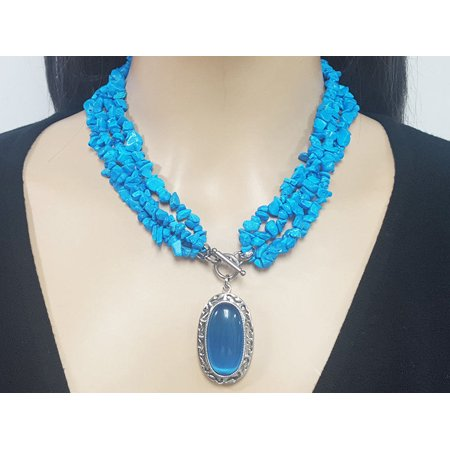 Exclusive Handcrafted Stainless Steel and Natural Stones Necklace for Women