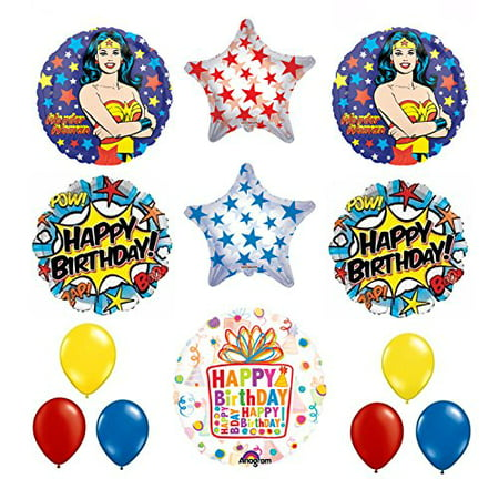Wonder Woman Pinata (Wonder Woman 13 pc Superhero Birthday Party Supplies and Balloon)