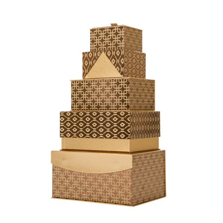 Glitzhome Nested Box With Lids Gold Rectangle 5 Piece Set Decorative Glitter Christmas Gift Giving - Gold Gift Box