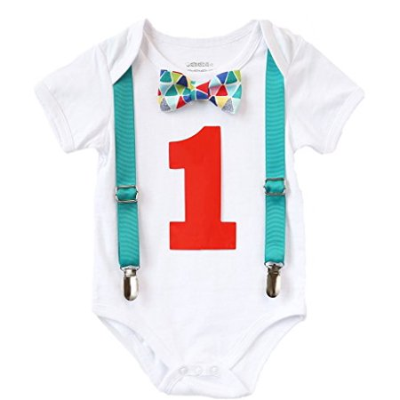 Noah's Boytique Baby Boys First Birthday Outfit Teal Suspenders Colorful Print Bow Red Number 12-18 Months - First Birthday Boy Outfit