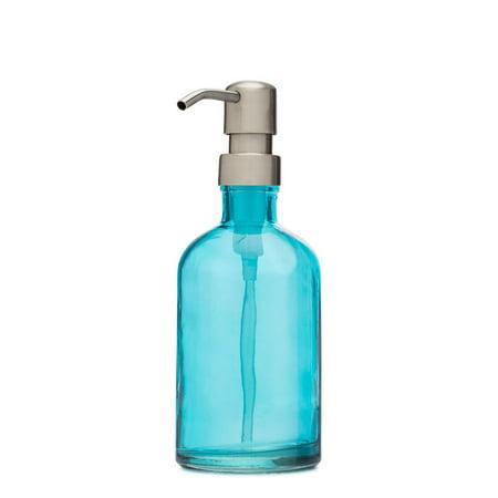 Rail19 Beach Blue Gl Soap Dispenser W Farmhouse Stainless Pump