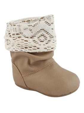 Baby Deer Light Brown Girls Slouch Boot with Crochet Cuff and Walking Sole (Infant Toddler Baby Boots) - Taupe - Size 10