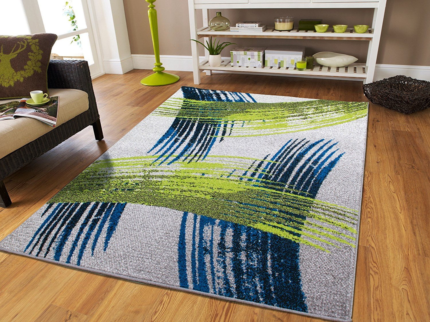Large Contemporary Area Rugs 8 by 10 Grey Blue Green Area Rugs on