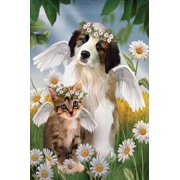 "Lil Angels Cat And Dog Summer House Flag Daisy Halo Wings Pets Banner  29"" x 43"""