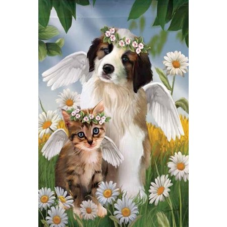 Lil Angels Cat And Dog Summer House Flag Daisy Halo Wings Pets Banner  29